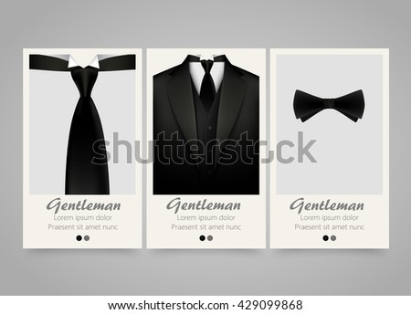 Modern colorful vertical official clothing banners. Wedding ceremony invitation, official meeting,or fashion flyer set. Backgrounds with tuxedo, tie and bow. Vector illustration - stock vector