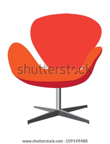 Modern, comfortable, elegant and stylish chair illustration in red and orange color on white background. - stock vector