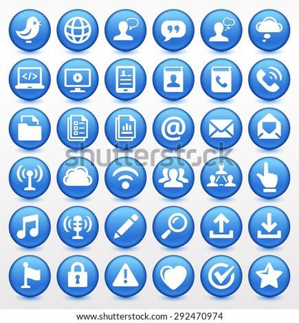 Modern Communication and Online Networking on Blue Round Buttons