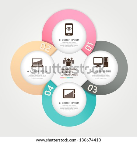 Modern communication technology circle origami style options banner. Vector illustration. can be used for workflow layout, diagram, number options, step up options, web design, infographics. - stock vector
