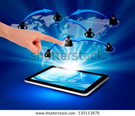 Modern communication technology illustration with tablet. Vector illustration.