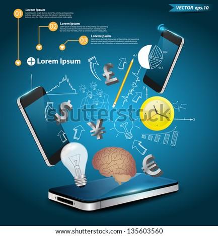 Modern communication technology with mobile phone, Vector illustration modern template design - stock vector