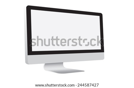 modern computer isolated on white Background. Vector Illustration.