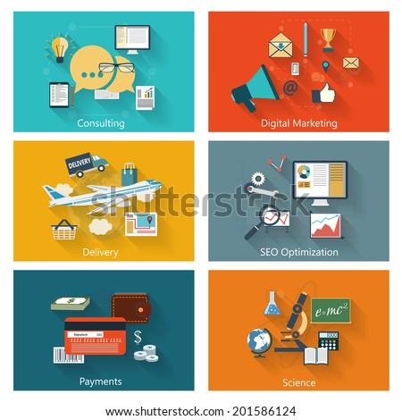 Modern concept banners set in flat design with long shadows and trendy colors for e-business, web sites, mobile applications, logo, covers etc. Vector eps10 illustration - stock vector