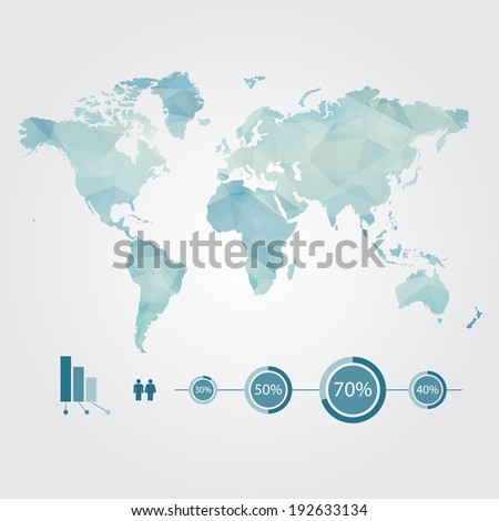 Modern concept of global world map with info-graphics elements - stock vector
