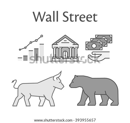 Modern concept of Wall Street. Vector symbol bull and bear icon. Black logo for online trading.