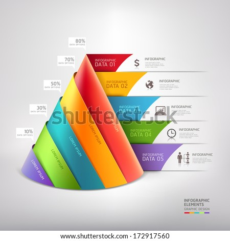 Modern cone 3d staircase diagram business. Vector illustration. can be used for workflow layout, banner, number options, step up options, web design, infographics. - stock vector
