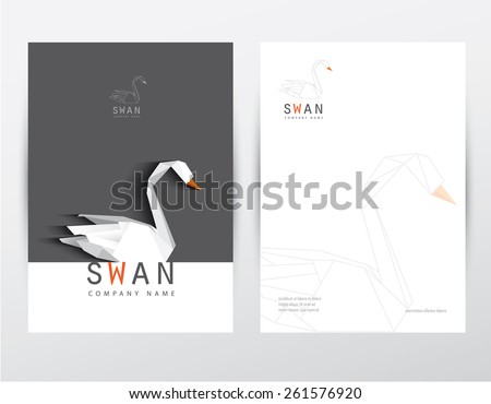 modern contemporary minimalistic black and white letterhead design set for corporate identity with low poly swan logo element - stock vector