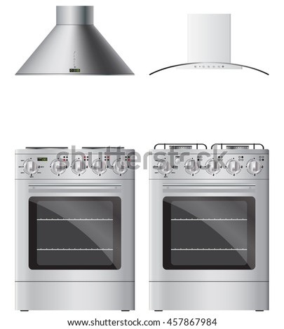 modern cooker hoods gas and electric stoves realistic vector image isolated on white