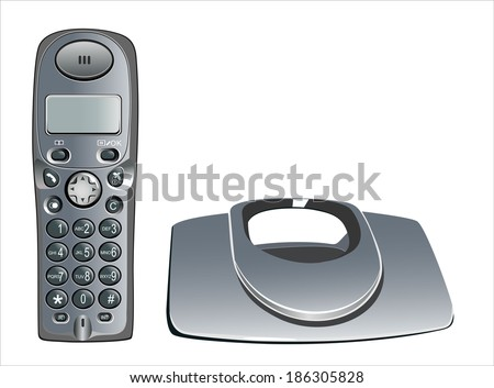 modern, cordless home phone, isolated on a white background. - stock vector