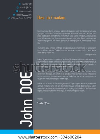 Modern cover letter resume cv template with simplistic elements - stock vector