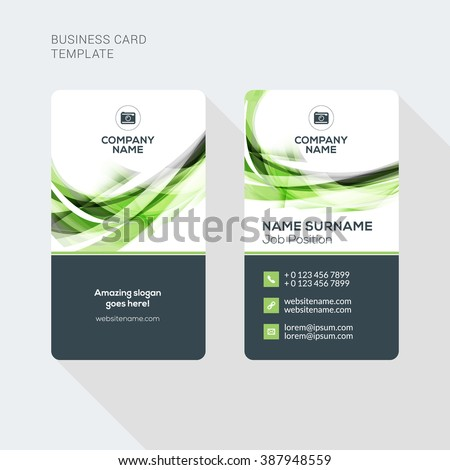 Modern creative clean two sided business stock vector 387948559 modern creative and clean two sided business card template flat style vector illustration vertical wajeb