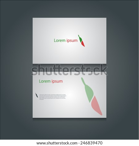 Modern creative business cards with abstract spicy chilli icon, Vector eps10. - stock vector