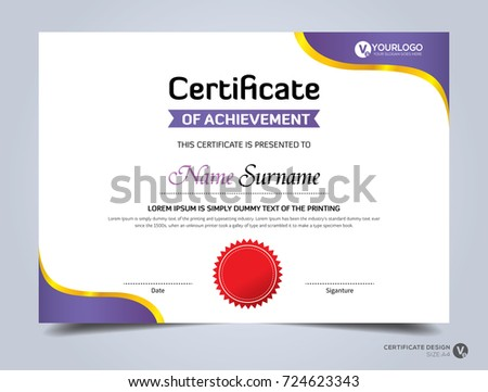Modern Creative Certificate Appreciation Award Template Stock Vector