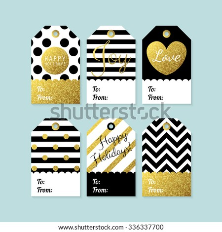 Modern creative Christmas gift tags in black, gold and white. Vector illustration - stock vector