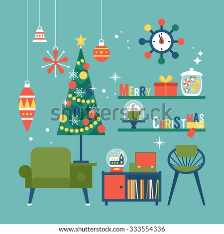 Modern creative Christmas greeting card design with mid century furniture  and Christmas decorations. Vector illustration