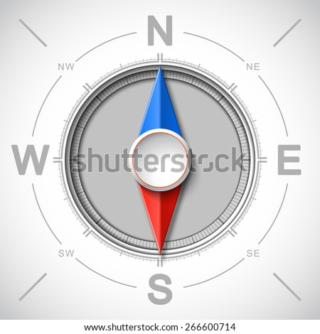 Modern creative vector compass of white metal, navigation design concept element on a journey to nature - stock vector