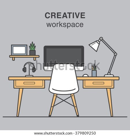 Modern creative workspace illustration with work table, a lamp, computer and designer's chair. - stock vector