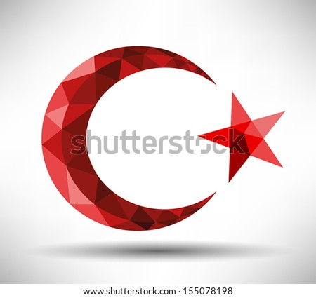 Modern Crescent and Star Design - stock vector