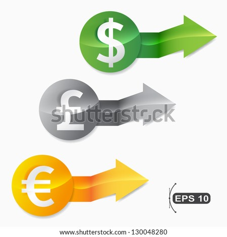 modern currency money signs set - stock vector