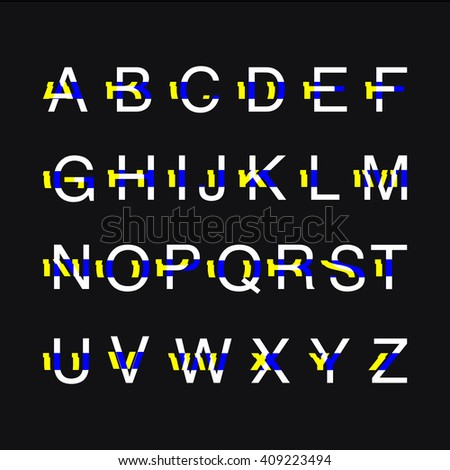 Modern custom glitch distortion alphabet font. Trendy glitch vector font. Black background. Stock vector.
