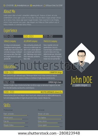 Modern cv curriculum vitae resume design with dark background - stock vector