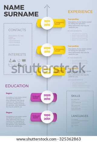 Modern Cv Resume Template Timeline Stock Vector - Timeline resume template