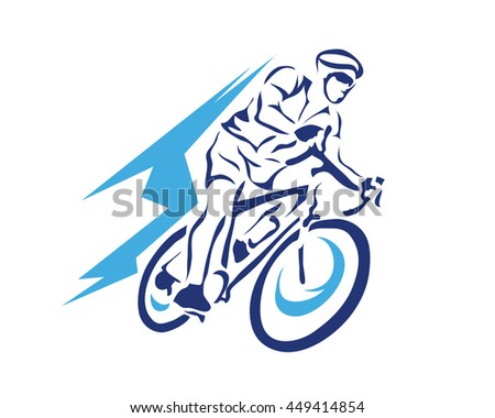 Modern Cycling Action Silhouette Logo - Blue Motion Cyclist In Action - stock vector