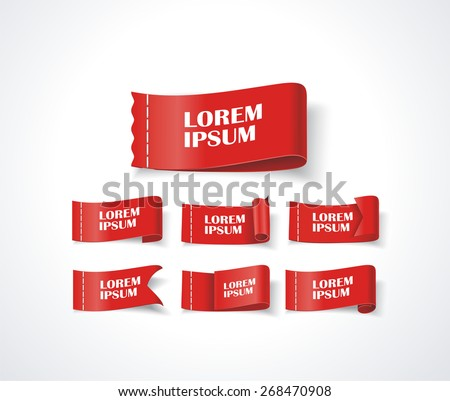 Modern 3D Design Tags and Labels - grouped vector elements - stock vector
