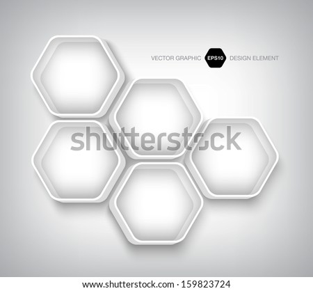 Modern 3d hexagonal infographic boxes / banners Plastic badges. Can be used for website and promotion. Clean white design layout template. Honeycomb, cellular design.  - stock vector