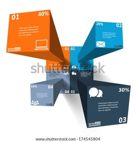 Modern 3d infographics for web, banners, mobile applications, layouts etc. Vector eps10 illustration - stock vector