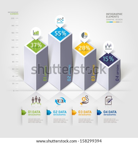 Modern 3d infographics options. Vector illustration. can be used for workflow layout, diagram, banner, number options, step up options, web design. - stock vector