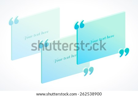 Modern 3d isometric quotation marks template in turquoise and blue colors. Flat illustration. Place for your text - stock vector