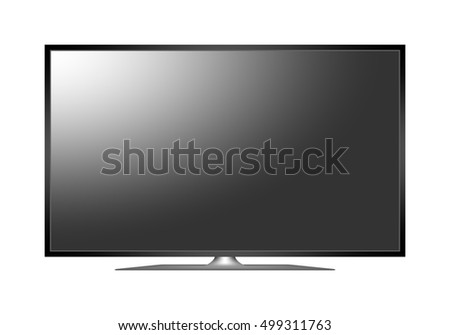 Modern 3D plasma TV. Off multimedia device with a stand with a black display with white reflection on white background. Widescreen TV with black frame. 4K television