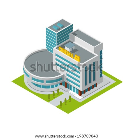 Modern 3d urban cinema theatre building with architectural elements isometric isolated vector illustration