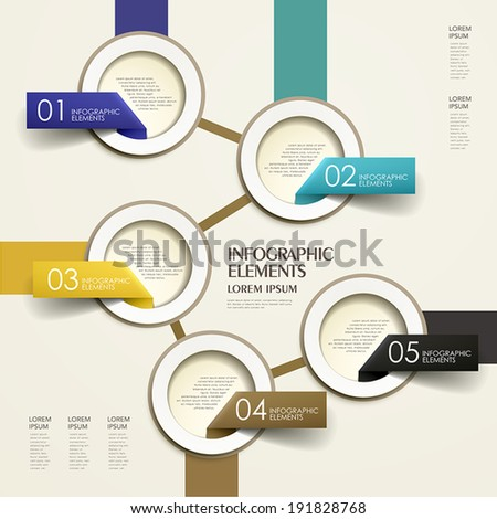 modern 3d vector abstract flow chart paper infographic elements - stock vector