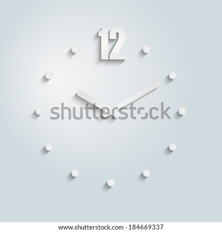 Modern 3D Vector Paper Clock Icons
