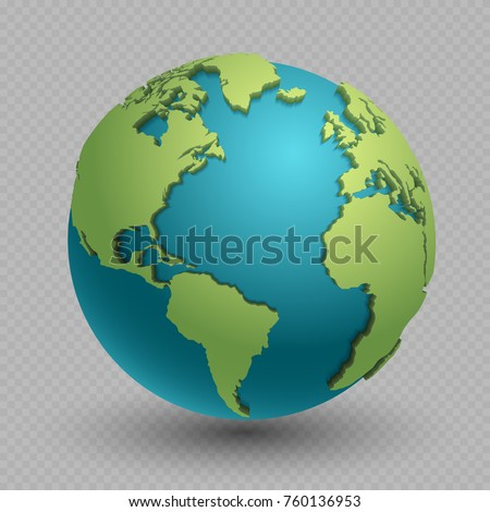 Modern 3d world map concept isolated on transparent background. World planet, vector earth sphere illustration