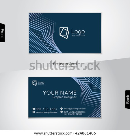Modern dark blue business card vector stock vector 424881406 modern dark blue business card vector template reheart Image collections