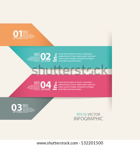 Modern design arrow template or horizontal cutout lines, infographic - stock vector