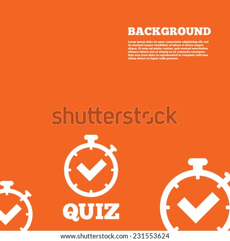 Modern design background. Quiz timer sign icon. Questions and answers game symbol. Orange poster with white signs. Vector - stock vector