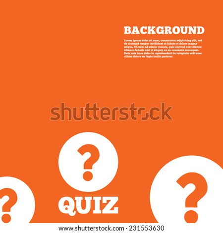 Modern design background. Quiz with question mark sign icon. Questions and answers game symbol. Orange poster with white signs. Vector - stock vector