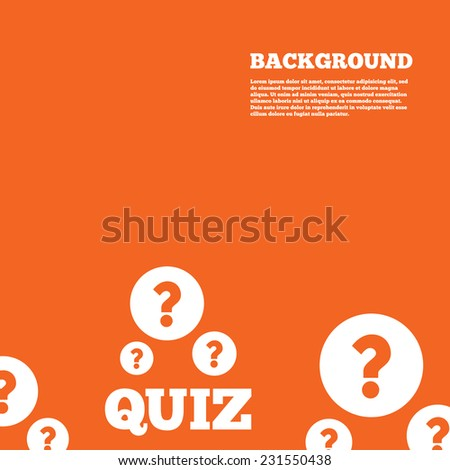 Modern design background. Quiz with question marks sign icon. Questions and answers game symbol. Orange poster with white signs. Vector - stock vector