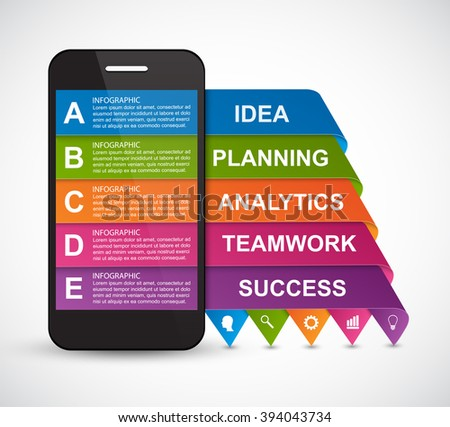 Modern design creative infographic with mobile phone. Vector illustration. - stock vector