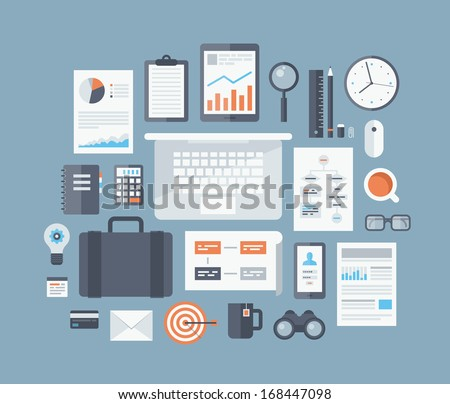 Modern design flat icon vector collection concept in stylish colors of business workflow items and elements, office things and equipment, finance and marketing objects. Isolated on blue background.   - stock vector