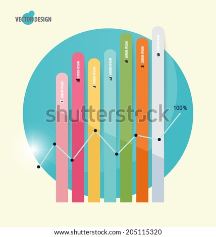 Modern design graph. Business graph to success, can use for business concept. Vector illustration. - stock vector