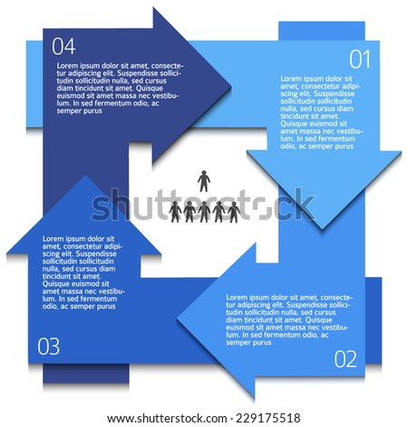 Modern Design infographic style template on white background with numbered 3d effect blue arrows circle. Vector illustration EPS 10 for new product newsletters, web banners, pages presentation - stock vector