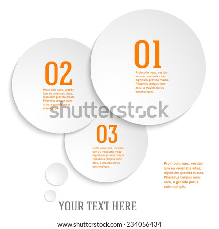 Modern Design infographic style template on white background with numbered 3d effect circle. Vector illustration EPS 10 for new product newsletters, web banners, pages presentation - stock vector