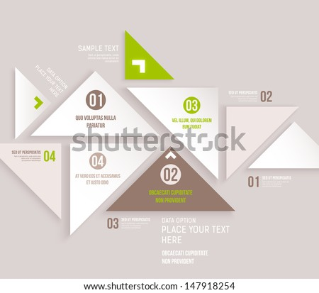 Modern design infographic template. Numbered banners. Minimal style design for business graphic. Paper background origami design. Cutout lines and other design elements. - stock vector