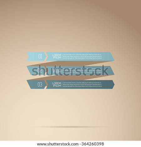 Modern Design Infographic with icons and numbered stripes template, blue gradient on light brown background - stock vector